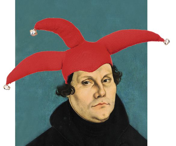 Martin Luther mit Narrenkappe