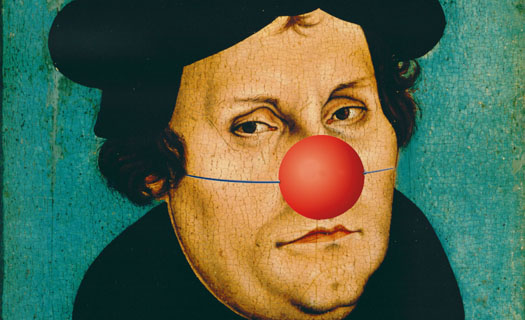 Martin Luther mit Clownsnase (Fotomontage)